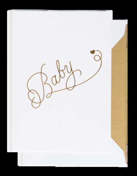 Bilde av CARDSOME BABY  GOLD HEART WHITE